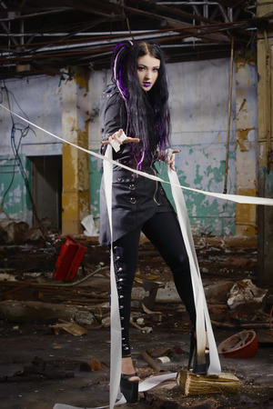 gothic girl: Cyber gothic girl in an abandoned factory