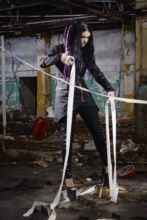 cyber girl: Cyber gothic girl in an abandoned factory