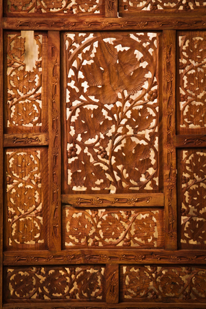 wood craft: Beautiful wood carving in oriental style, background