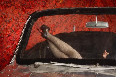 black heels: Pin Up Girl Style Long Legs in black heels