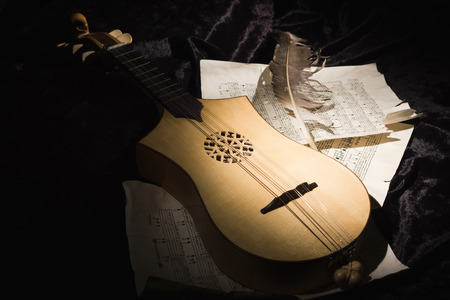 single songs: Renaissance lute (citole) with musical notes in retro style.