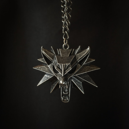 Fantasy locket with wolfs head and with chain Stock Photo