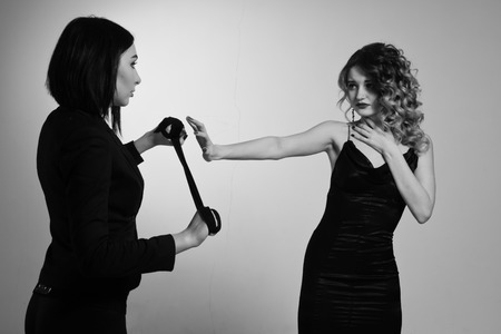 film noir: Film noir. Hitwoman strangled the beautiful young woman with black scarf