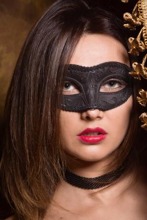 Beautiful dominant brunette mistress girl in black lingerie