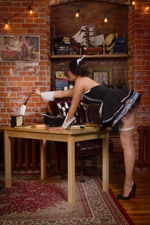 Young sexy chambermaid with duster. Pin up housework.