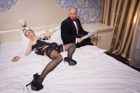 strangled: An angry guest in a hotel room and an annoying maid who he strangled