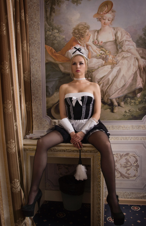 Young sexy chambermaid does the cleaning. Pin up style.