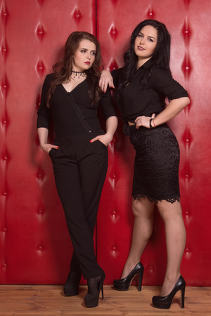 Two fashionable beautiful women in a black at vintage interior photo