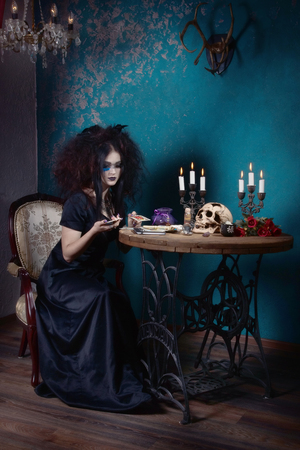 Helloween. The Evil witch in a dark room. Stok Fotoğraf