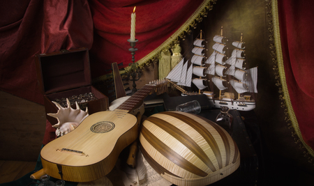 Musical still life in the Renaissance style with lute, vihuela and flutes