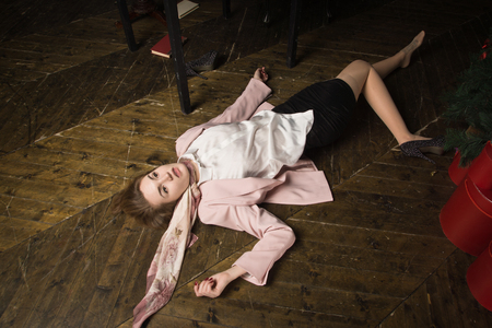 Crime scene (imitation). Strangled student in the classical library room