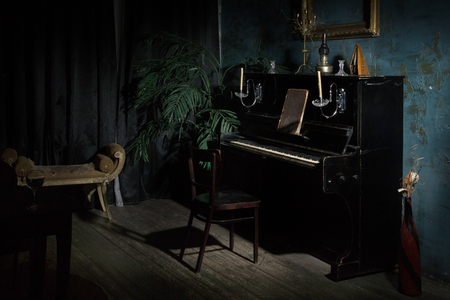 Luxurious interior in the vintage style with old piano Stock fotó