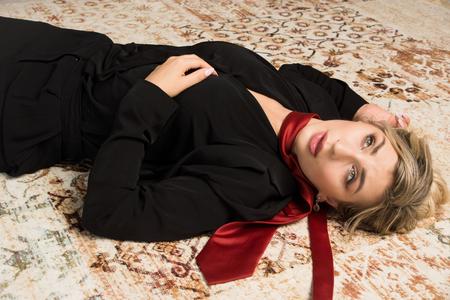 Crime scene with strangled  business woman (imitation)