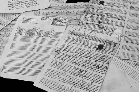 Renaissance lute or vihuela tablature. A large image of the method of musical notation of the 16th century 写真素材