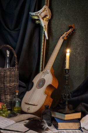 Musical still life in the Renaissance style with viola Stock Photo
