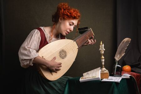 Red-haired girl in a historical suit plays the lute. Renaissance painting style.