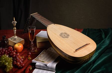 Musical still life in the Renaissance style with lute