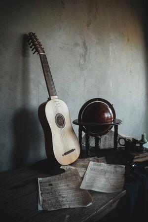 Musical still life with renaissance vihuela Stock Photo