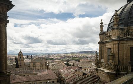 Aerial view of the historic city of Salamanca from the Top of Iglesia de la Clerecia at sunrise, Salamanca, Spain