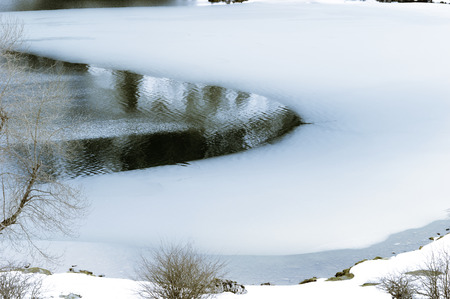 Detail of a part of a frozen lake in winter, Lago Enol, Lagos de Covadonga, Asturias, Spain