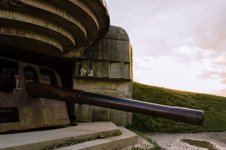 Remains of a German bunker of World War II at Longues-sur-Mer, Normandy, France