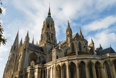 Cathedral of Our Lady of Bayeux,in a blue sky on a sunny summer day. Calvados department of Normandy, France.