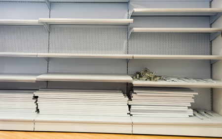 Empty shelves in store
