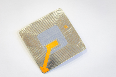 Close up of RFID tags used for tracking and identification purposes and as an anti-theft system in commerce and retail.