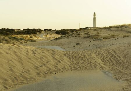 Road covered with sand from the dunes, road towards lighthouse of Trafalgar, Cadiz, Spain at sunset