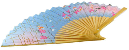 Blue Chinese paper fan with a pattern  photo