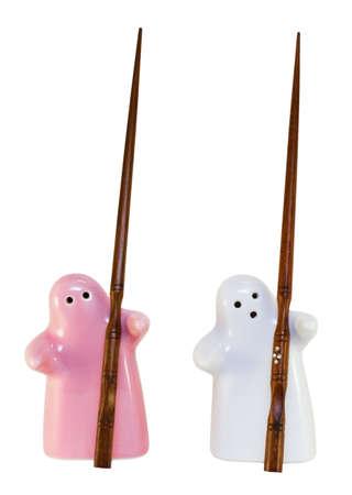 pepper shaker and salt shaker with chopsticks Stock Photo - 12367187