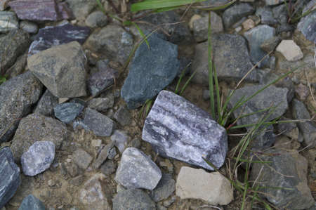 colored stones on the ground surface  Stock Photo