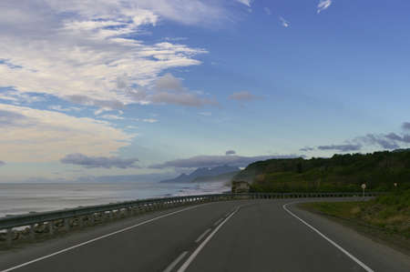Empty road along the coast  Stock Photo