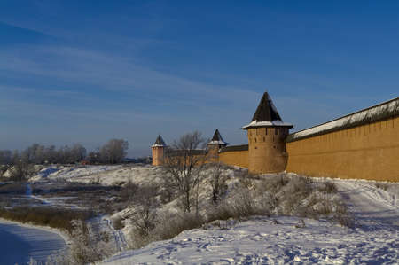 Solid walls Holy Euthymius monastery in Suzdal  photo
