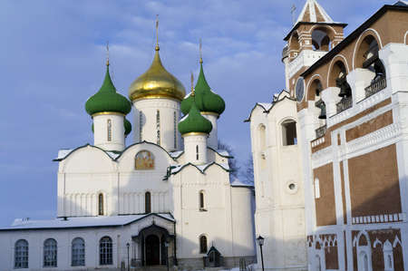 Transfiguration Cathedral and belfry of Holy Euthymius monastery in Suzdal Stock Photo