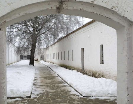 prison yard: Yard cellblock in Holy Euthymius monastery in Suzdal