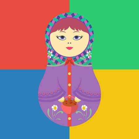 matreshka: russian matreshka vector illustration pop art flat design Illustration