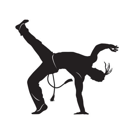 capoeira dancer silhouette Isolated on white  vector illustration