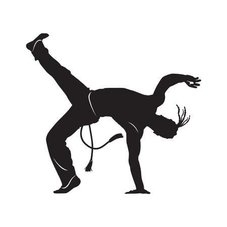 capoeira dancer silhouette Isolated on white  vector illustration