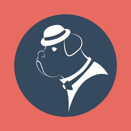 silhouette gangster dog in the mafia hat illustration