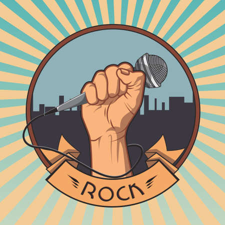 rock: hand holding a microphone in a fist. retro rock poster. vector illustration.