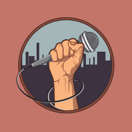 microphone: hand holding a microphone in a fist, background silhouette of the city. retro poster. vector illustration. vintage design.