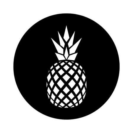 vector flat logo design of pineapple black and whit variation Illustration
