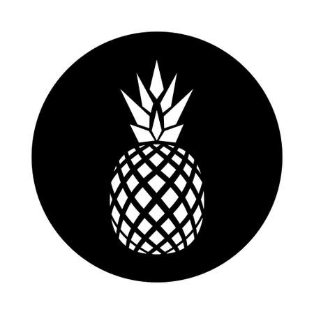 whit: vector flat logo design of pineapple black and whit variation Illustration