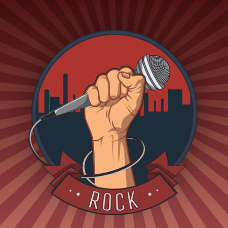 hand holding a microphone in a fist retro rock poster vector illustration