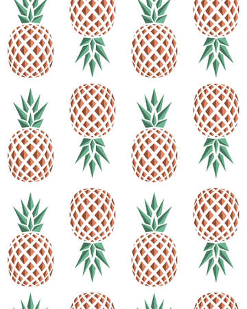 pineapple: Seamless background pattern of pineapples fruits for food design. Vector illustration.