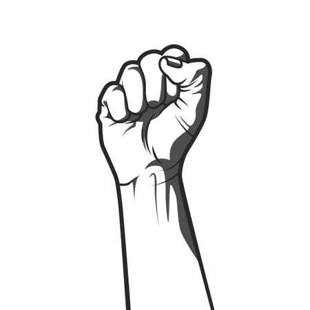 puños cerrados: Ilustración vectorial en estilo blanco y negro de un puño cerrado en alto en señal de protesta.