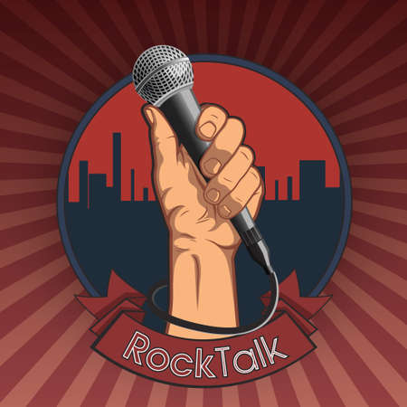 karaoke: hand holding a microphone in a fist. retro rock poster. vector illustration.  rock talk print.