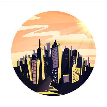 catoon: Night cityscape. Vintage colorful catoon vector illustration.