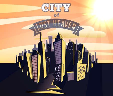 천국: vintage cartoon vector illustration of city of lost heaven. poster. 일러스트